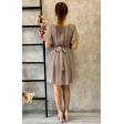 Серое коктейльное платье с рукавчиком крылышком